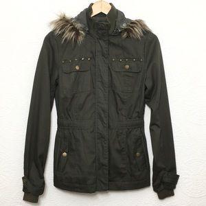 Charlotte Russe Hooded Green Jacket Sz M